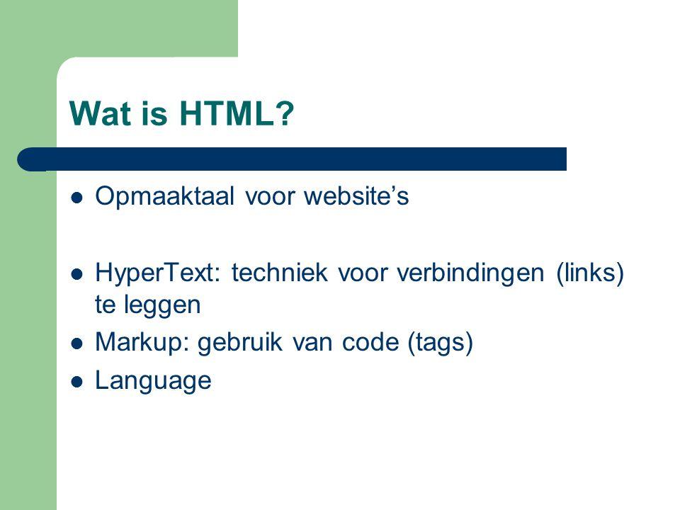 Wat is HTML Opmaaktaal voor website's