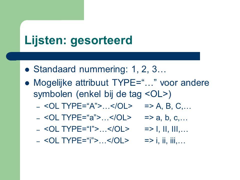 Lijsten: gesorteerd Standaard nummering: 1, 2, 3…