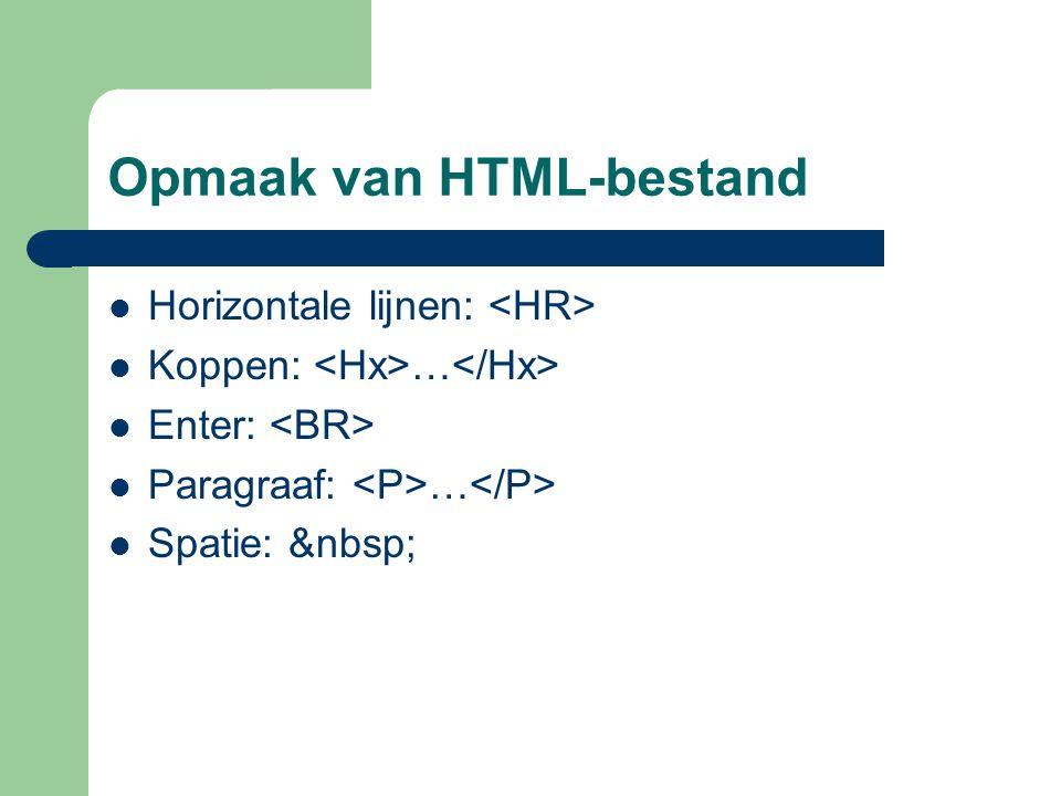Opmaak van HTML-bestand