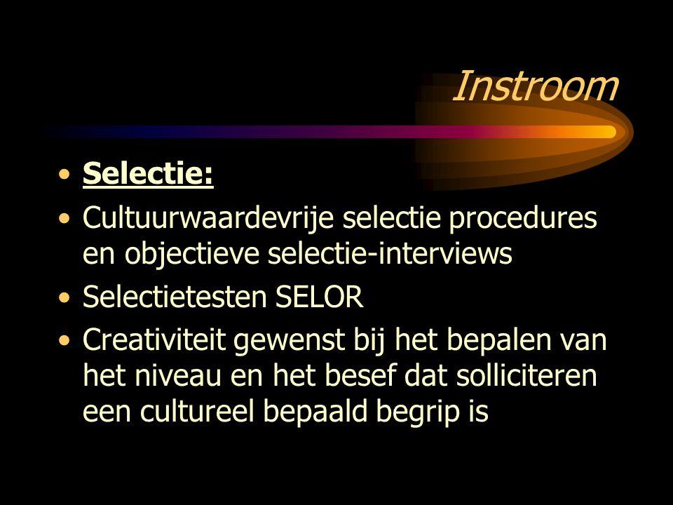 Instroom Selectie: Cultuurwaardevrije selectie procedures en objectieve selectie-interviews. Selectietesten SELOR.