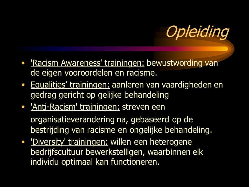 Opleiding Racism Awareness trainingen: bewustwording van de eigen vooroordelen en racisme.