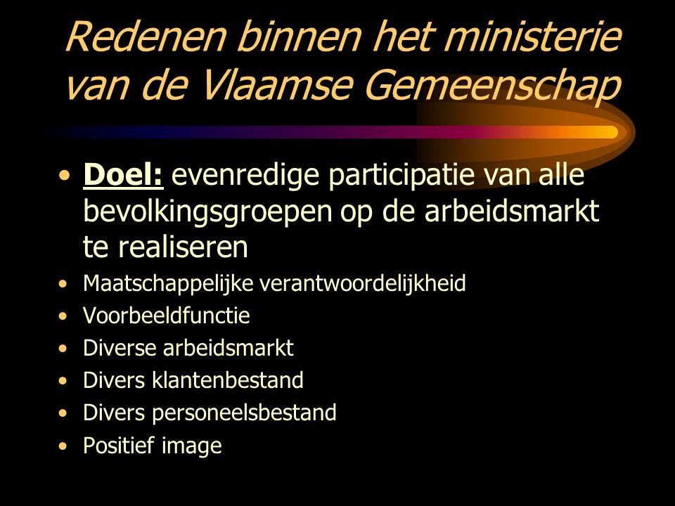 Redenen binnen het ministerie van de Vlaamse Gemeenschap