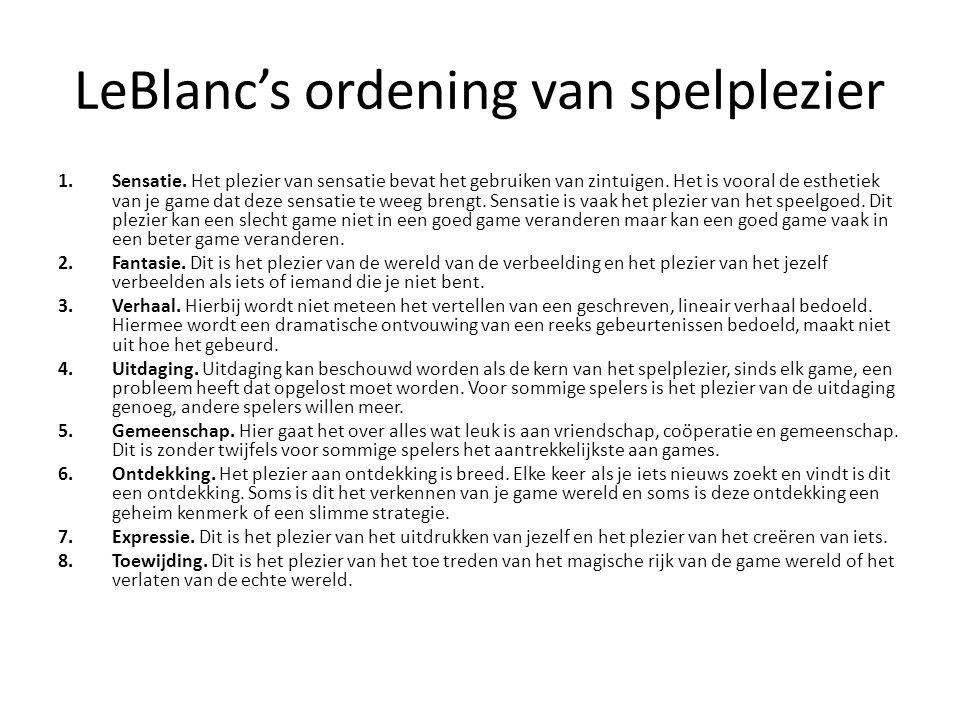 LeBlanc's ordening van spelplezier