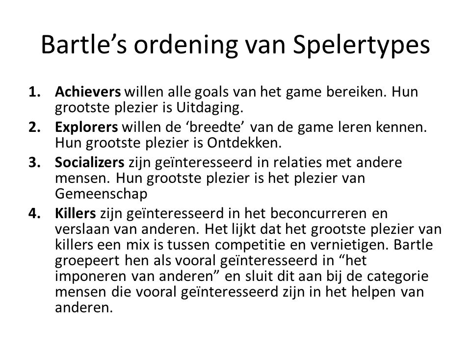 Bartle's ordening van Spelertypes