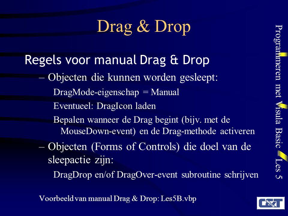 Drag & Drop Regels voor manual Drag & Drop
