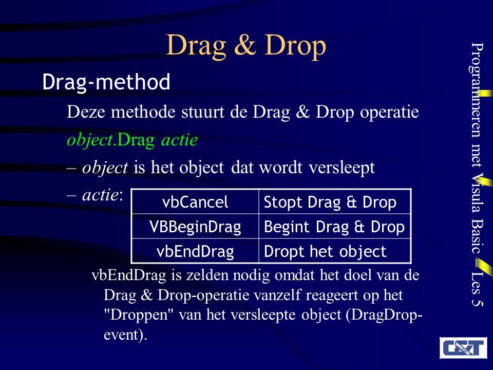 Drag & Drop Drag-method Deze methode stuurt de Drag & Drop operatie
