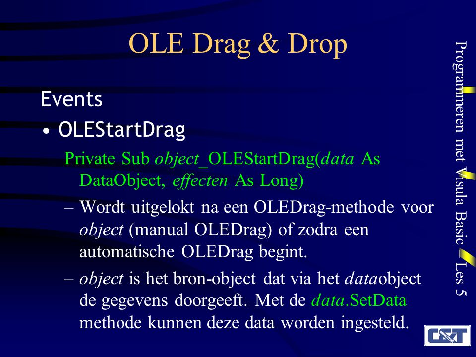 OLE Drag & Drop Events OLEStartDrag