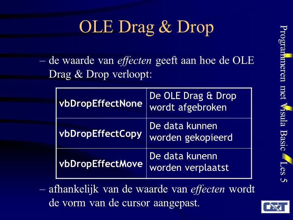 OLE Drag & Drop de waarde van effecten geeft aan hoe de OLE Drag & Drop verloopt: