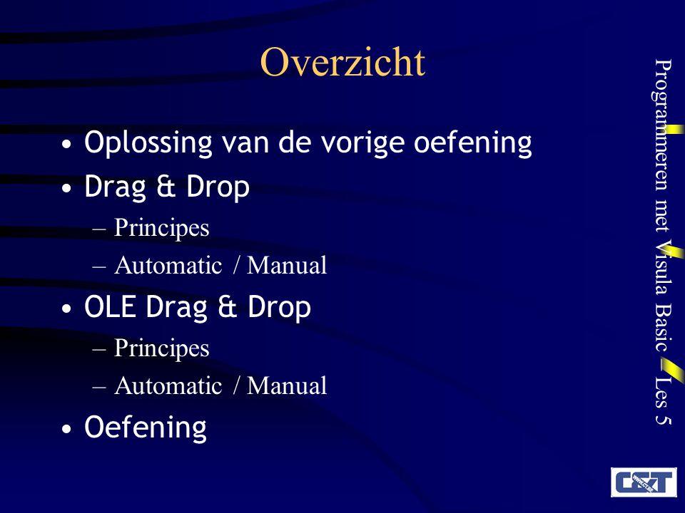 Overzicht Oplossing van de vorige oefening Drag & Drop OLE Drag & Drop