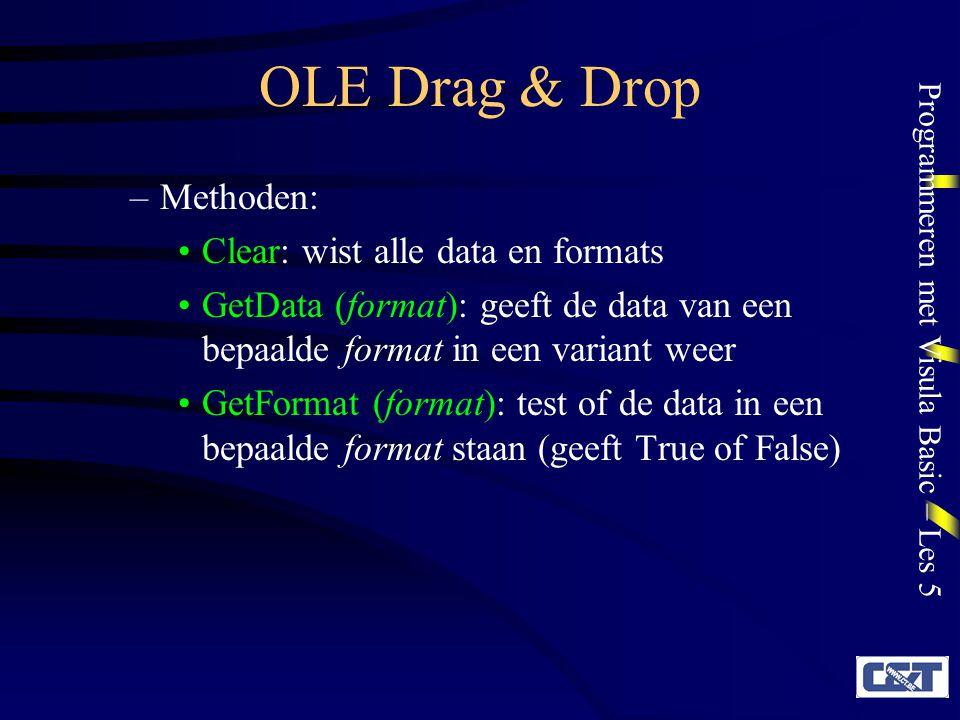 OLE Drag & Drop Methoden: Clear: wist alle data en formats