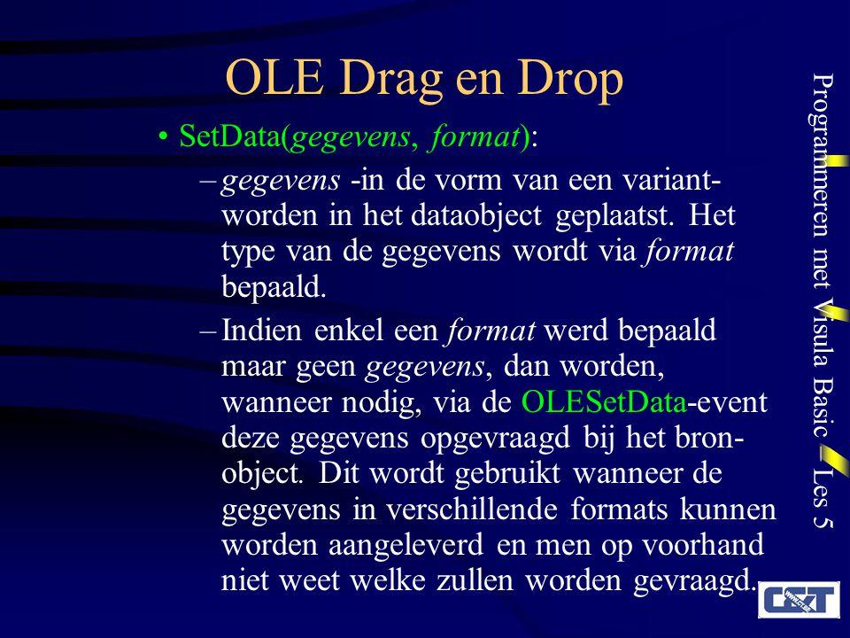 OLE Drag en Drop SetData(gegevens, format):