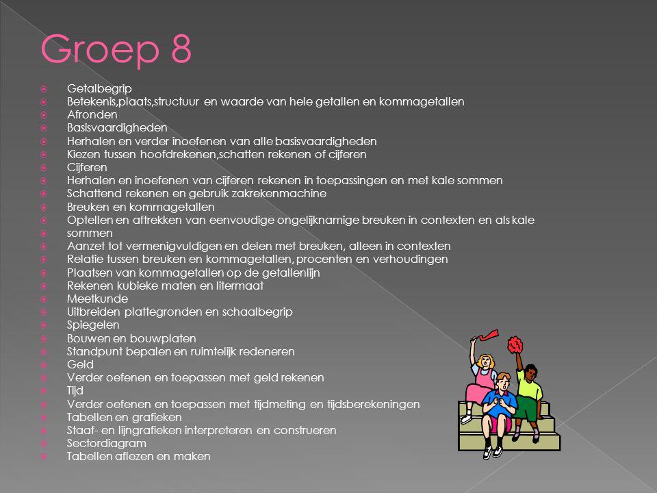 Groep 8 Getalbegrip. Betekenis,plaats,structuur en waarde van hele getallen en kommagetallen. Afronden.