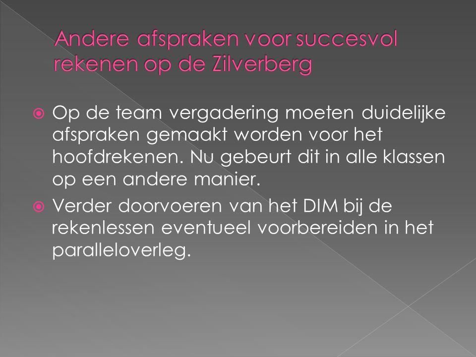 Andere afspraken voor succesvol rekenen op de Zilverberg
