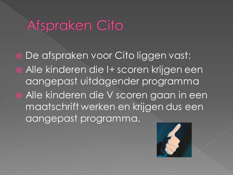 Afspraken Cito De afspraken voor Cito liggen vast: