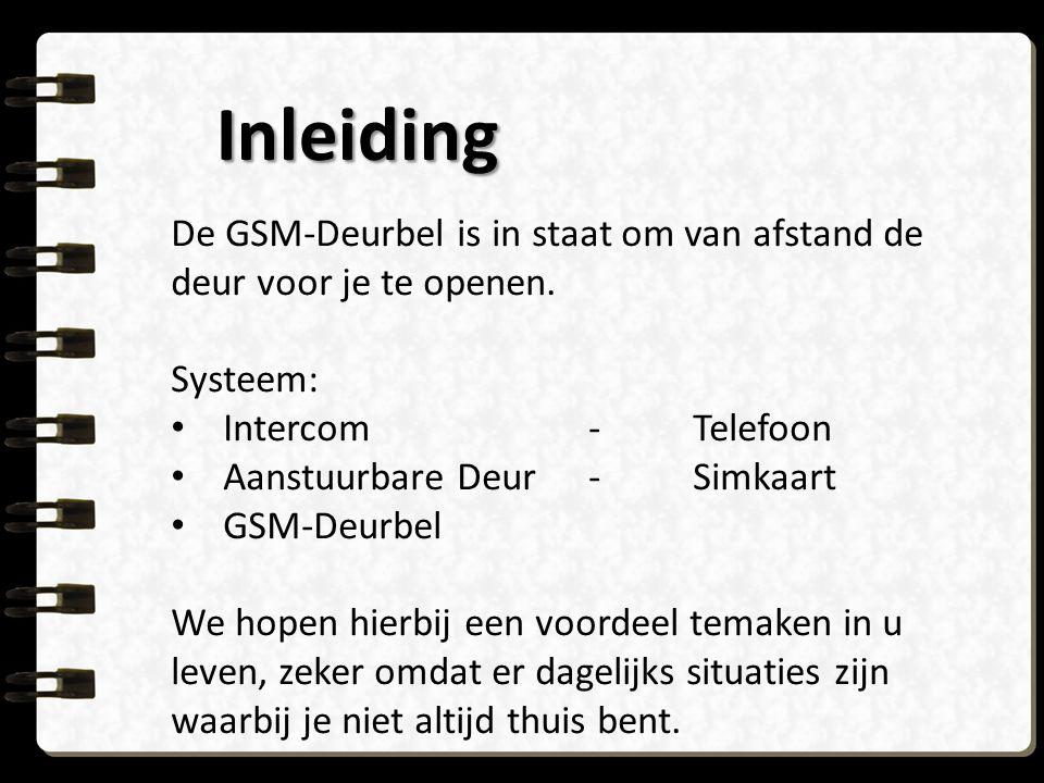 Inleiding De GSM-Deurbel is in staat om van afstand de deur voor je te openen. Systeem: Intercom - Telefoon.