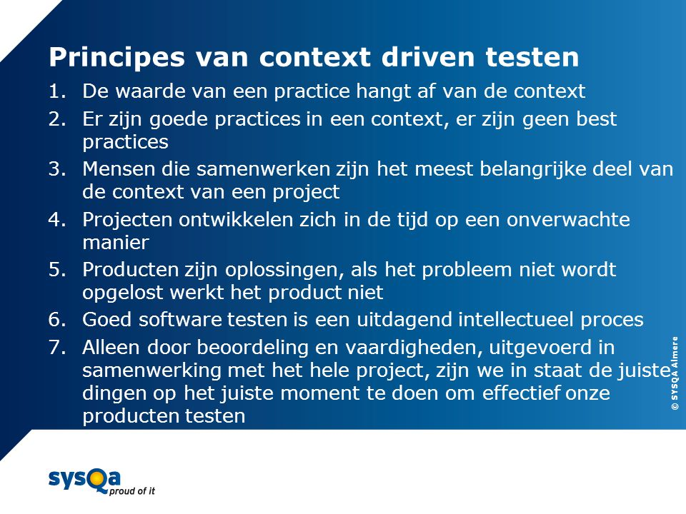 Principes van context driven testen