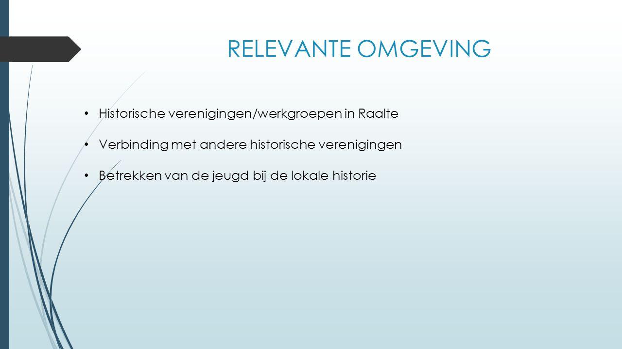 RELEVANTE OMGEVING Historische verenigingen/werkgroepen in Raalte