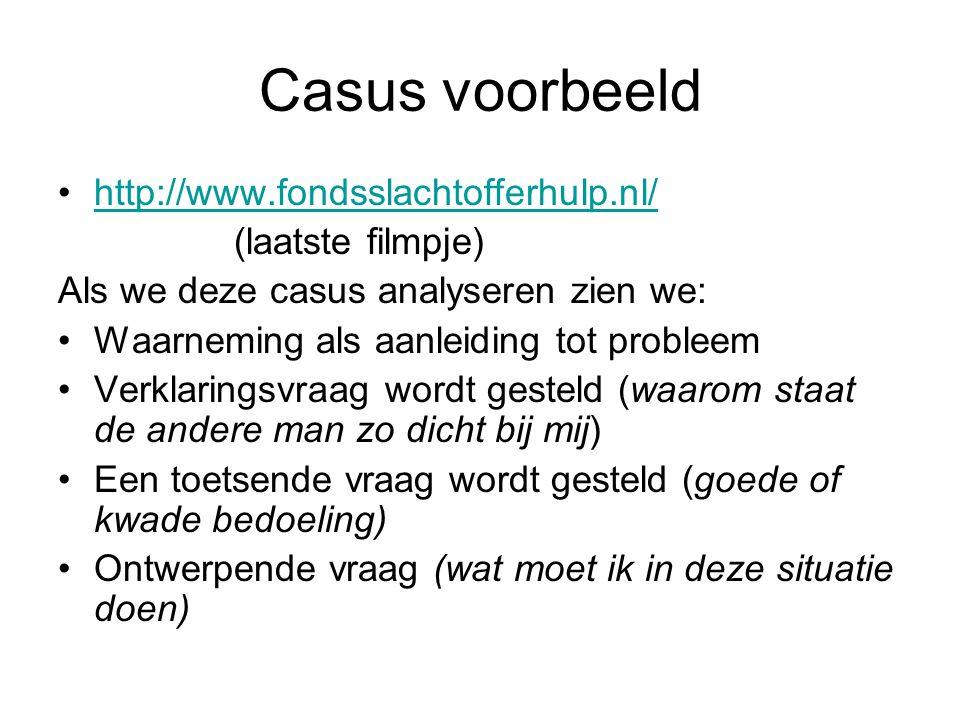 Casus voorbeeld http://www.fondsslachtofferhulp.nl/ (laatste filmpje)