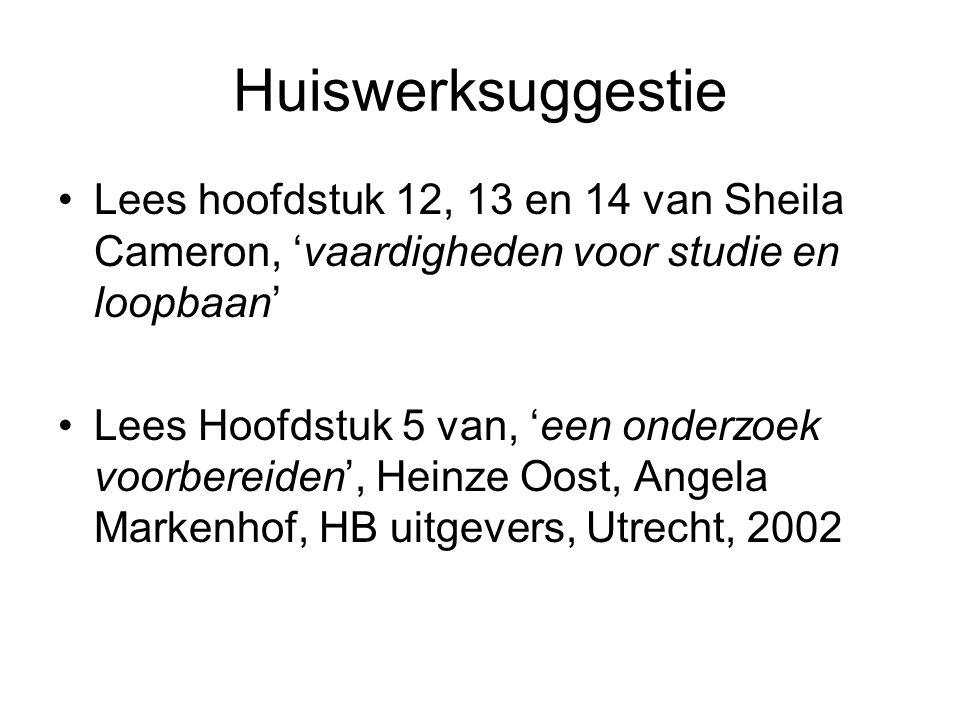 Huiswerksuggestie Lees hoofdstuk 12, 13 en 14 van Sheila Cameron, 'vaardigheden voor studie en loopbaan'