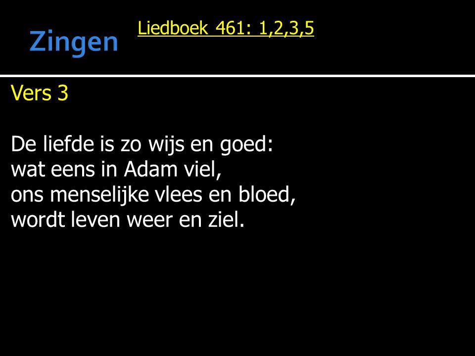 Zingen Vers 3 De liefde is zo wijs en goed: wat eens in Adam viel,
