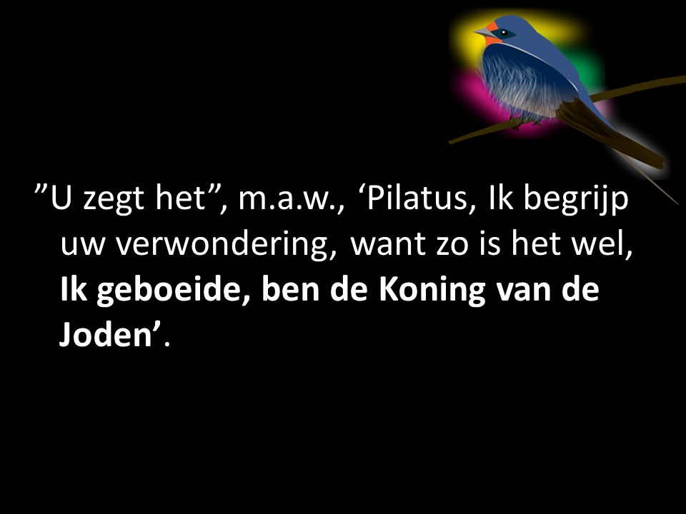 U zegt het , m.a.w., 'Pilatus, Ik begrijp uw verwondering, want zo is het wel, Ik geboeide, ben de Koning van de Joden'.