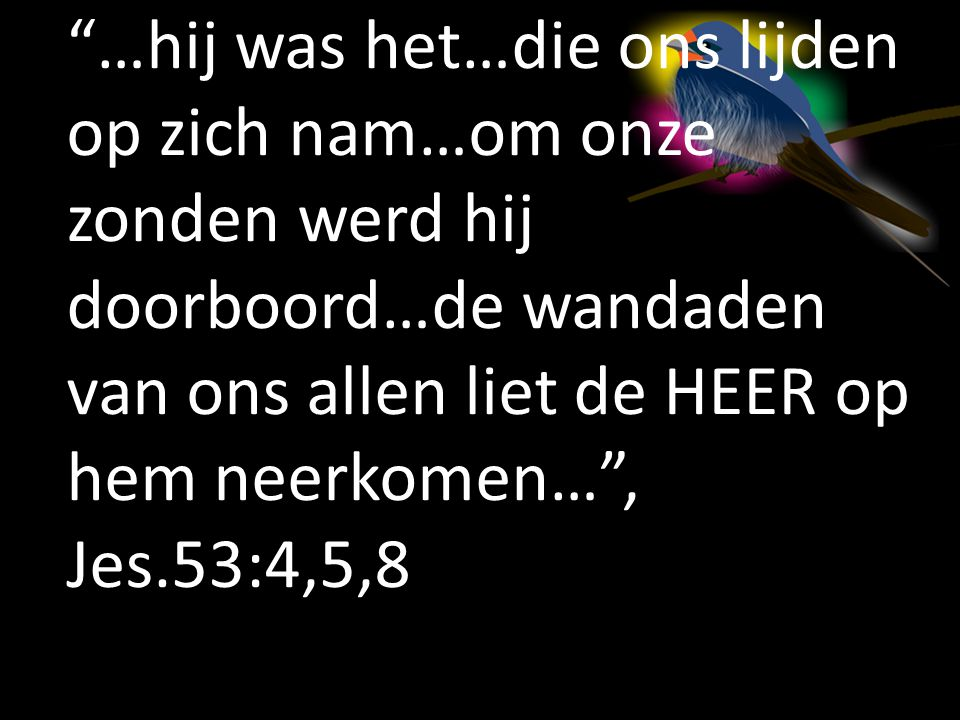 …hij was het…die ons lijden op zich nam…om onze zonden werd hij doorboord…de wandaden van ons allen liet de HEER op hem neerkomen… , Jes.53:4,5,8