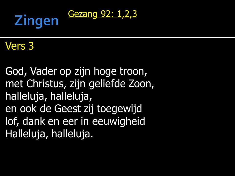 Zingen Vers 3 God, Vader op zijn hoge troon,