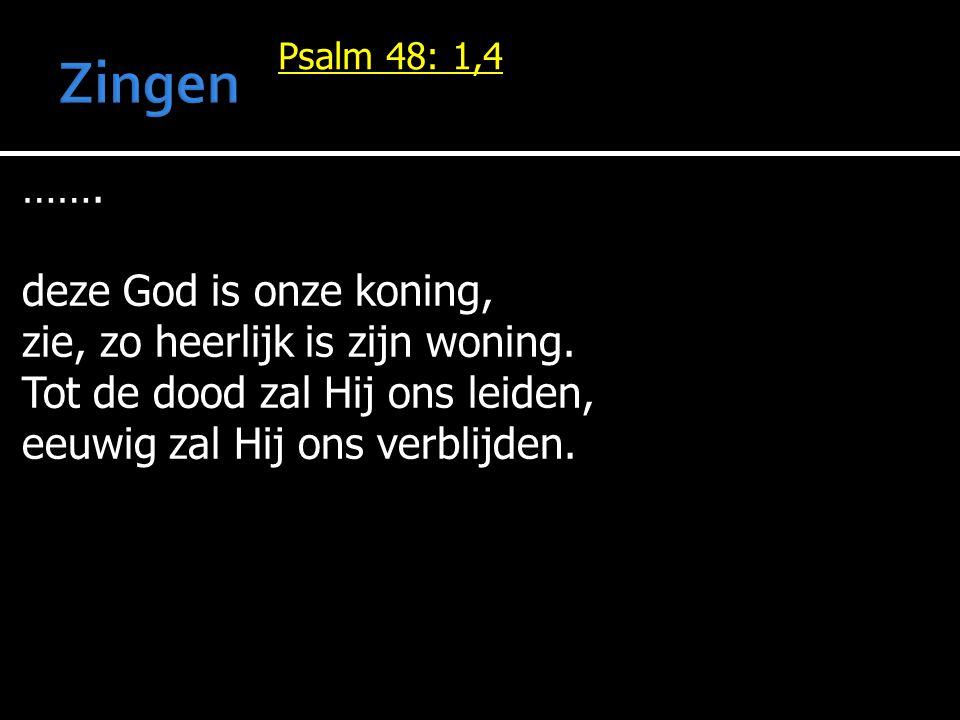 Zingen ……. deze God is onze koning, zie, zo heerlijk is zijn woning.