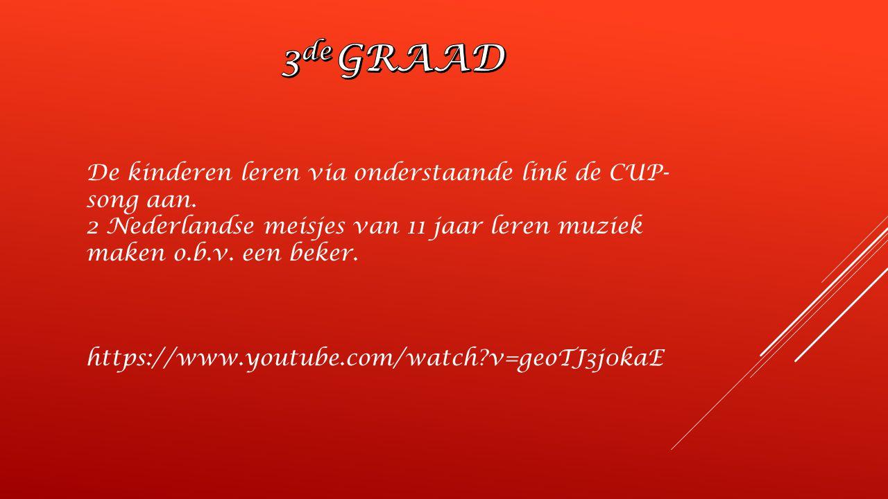 3de GRAAD De kinderen leren via onderstaande link de CUP-song aan.