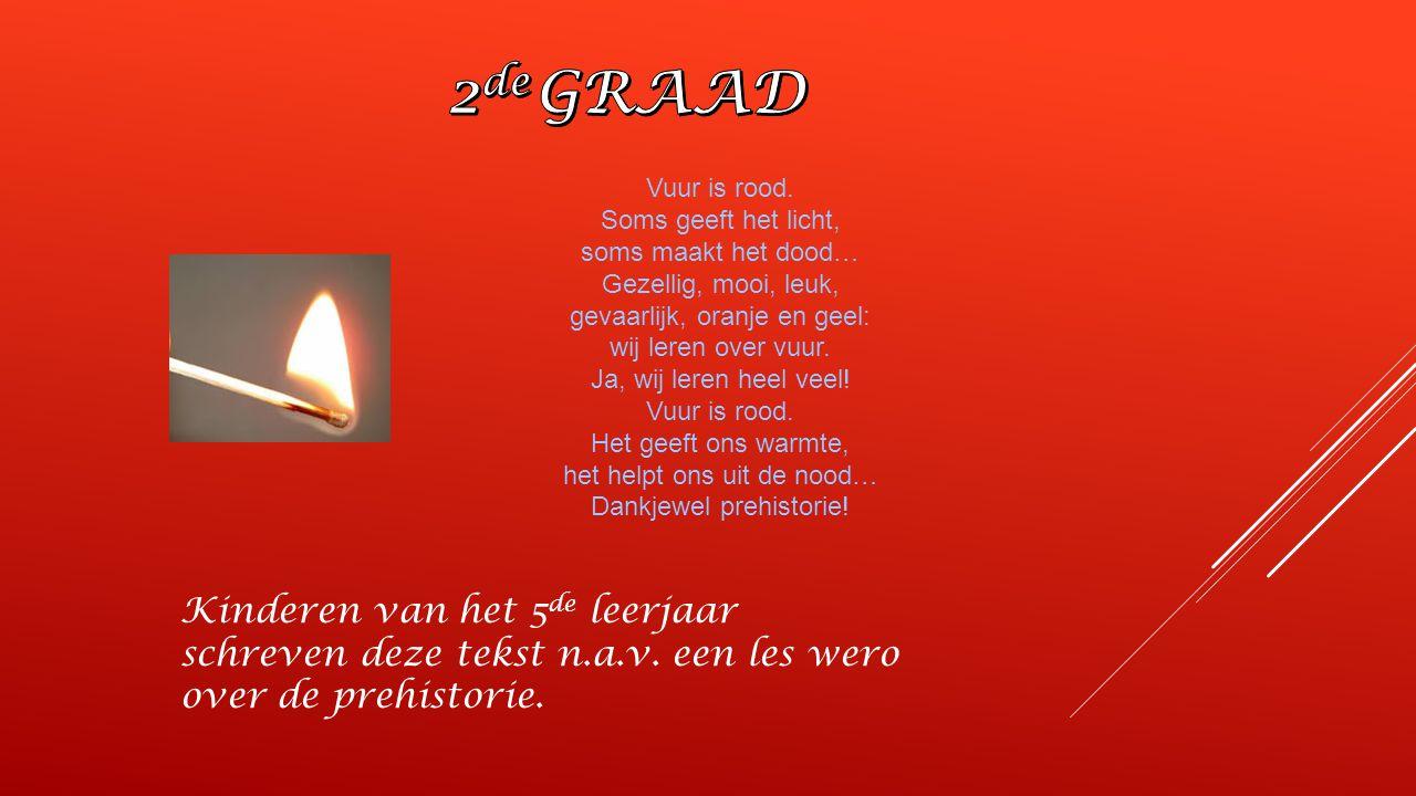 2de GRAAD Vuur is rood. Soms geeft het licht, soms maakt het dood… Gezellig, mooi, leuk, gevaarlijk, oranje en geel:
