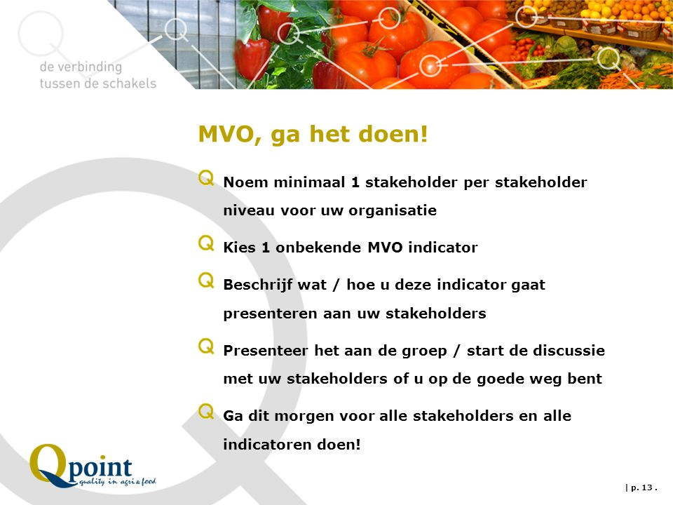 MVO, ga het doen! Noem minimaal 1 stakeholder per stakeholder niveau voor uw organisatie. Kies 1 onbekende MVO indicator.