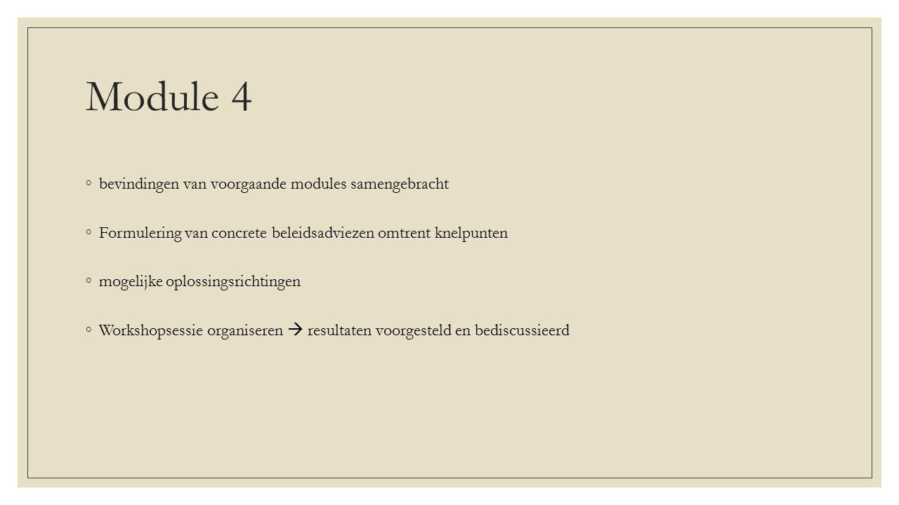 Module 4 bevindingen van voorgaande modules samengebracht