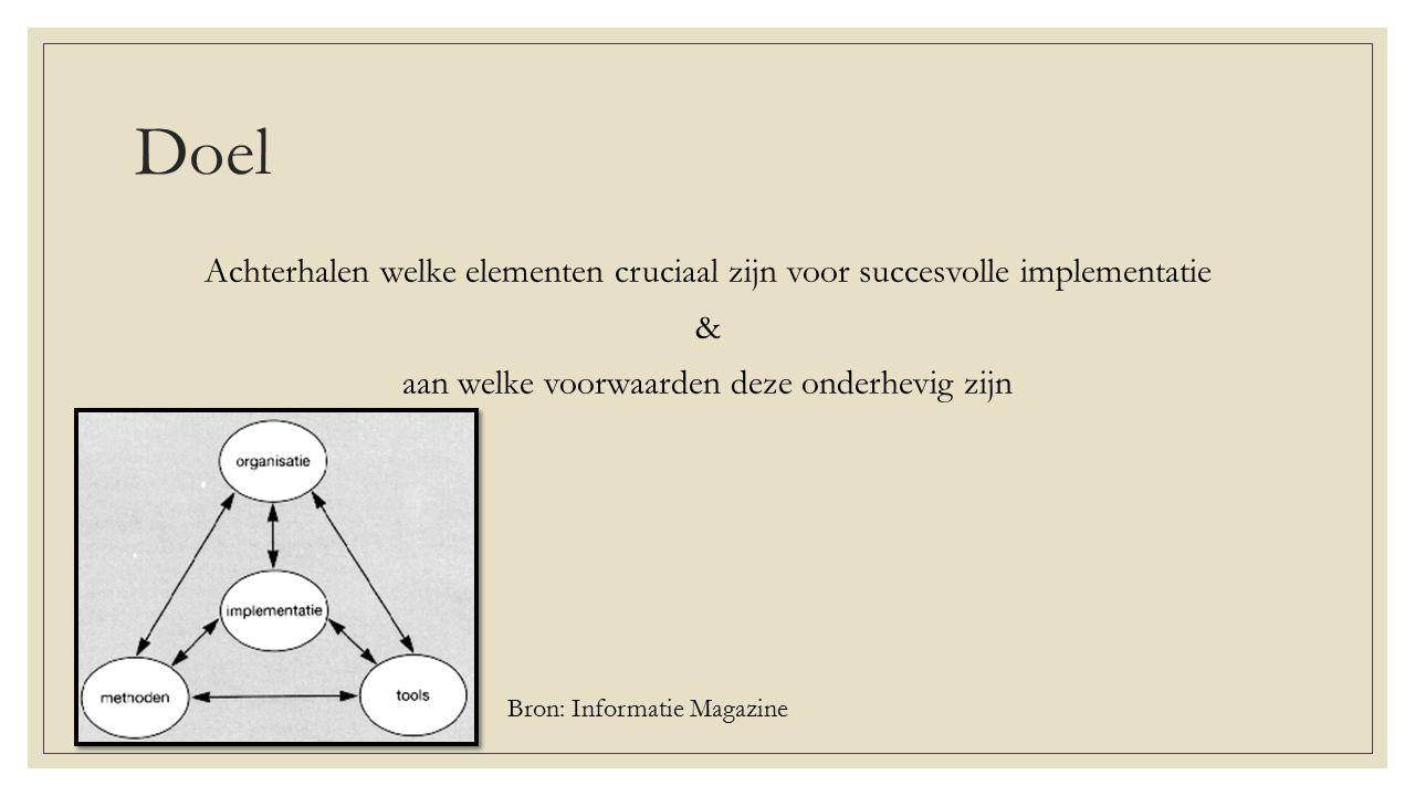 Doel Achterhalen welke elementen cruciaal zijn voor succesvolle implementatie & aan welke voorwaarden deze onderhevig zijn