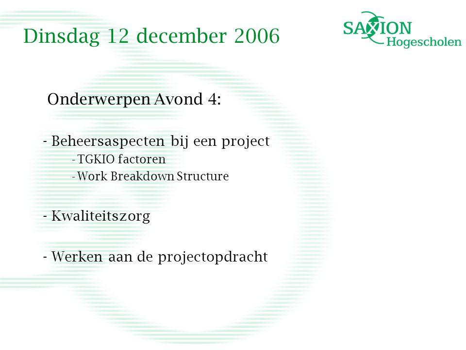 Dinsdag 12 december 2006 Onderwerpen Avond 4: