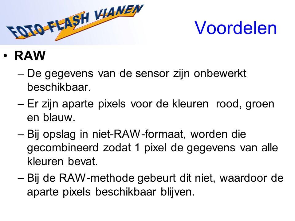 Voordelen RAW De gegevens van de sensor zijn onbewerkt beschikbaar.