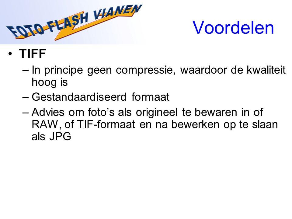 Voordelen TIFF. In principe geen compressie, waardoor de kwaliteit hoog is. Gestandaardiseerd formaat.