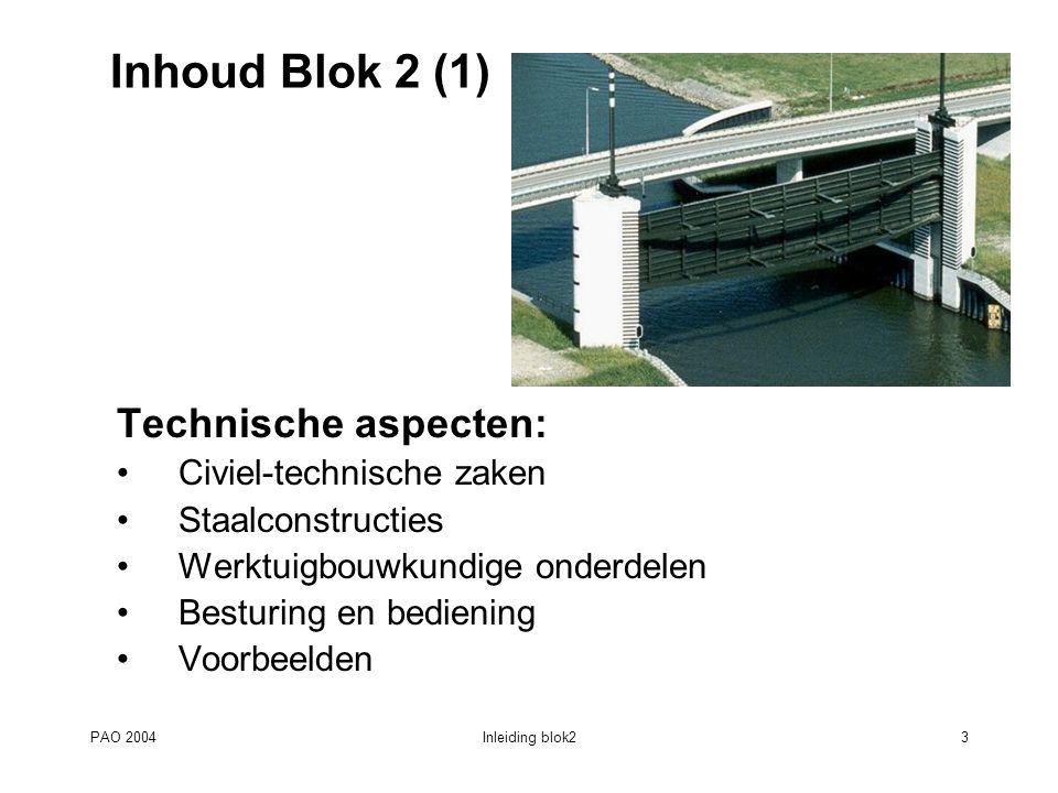 Inhoud Blok 2 (1) Technische aspecten: Civiel-technische zaken