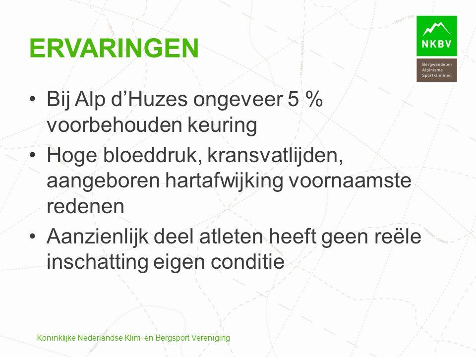 Ervaringen Bij Alp d'Huzes ongeveer 5 % voorbehouden keuring