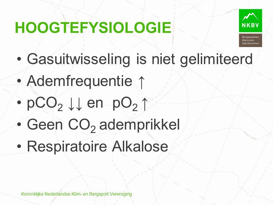 Gasuitwisseling is niet gelimiteerd Ademfrequentie ↑ pCO2 ↓↓ en pO2 ↑