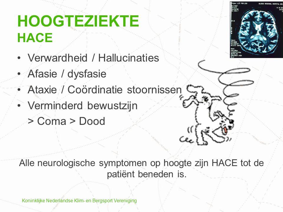 Hoogteziekte HACE Verwardheid / Hallucinaties Afasie / dysfasie