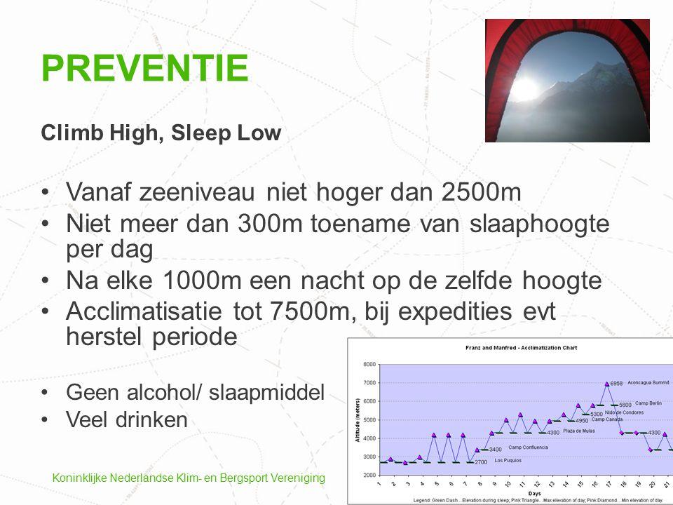 Preventie Vanaf zeeniveau niet hoger dan 2500m