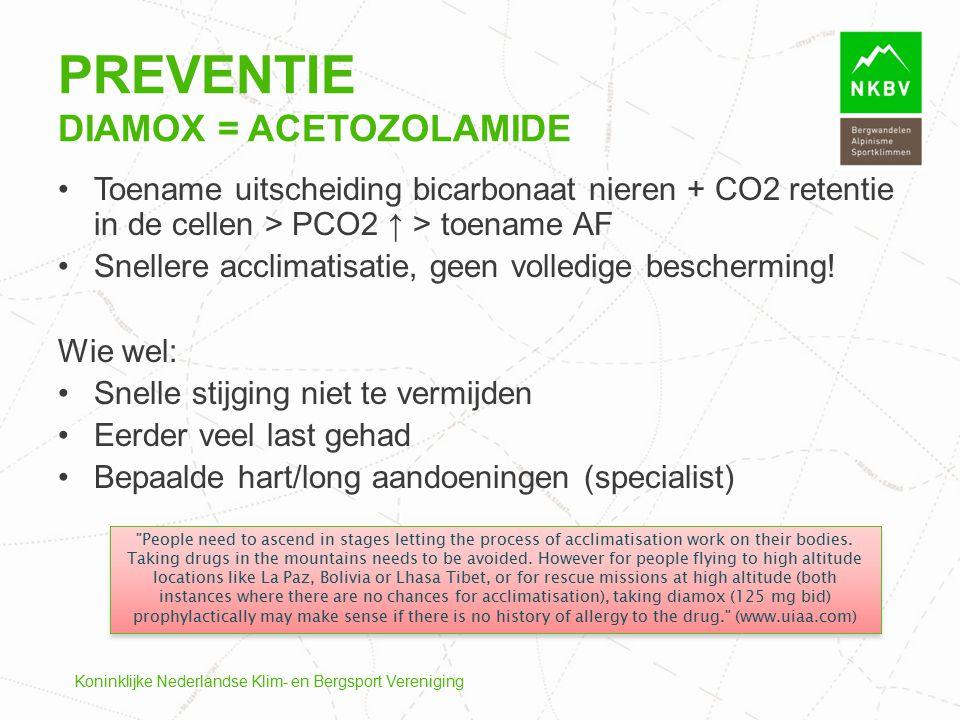 Preventie Diamox = Acetozolamide