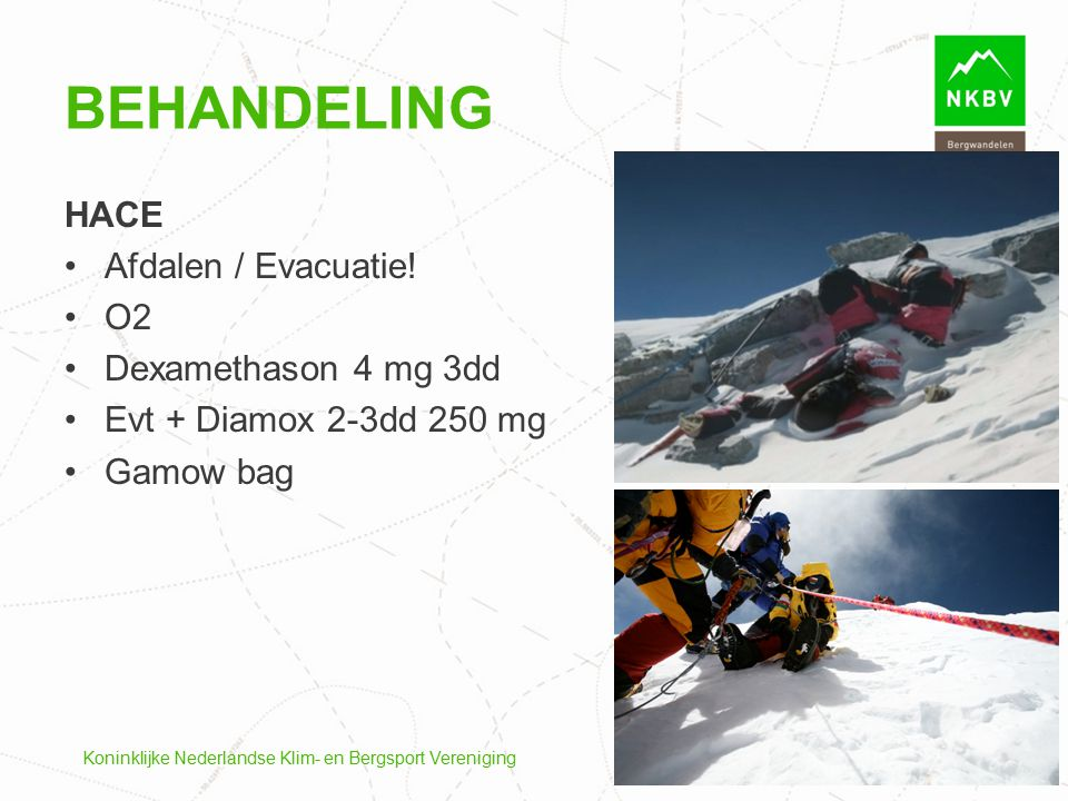 Behandeling HACE Afdalen / Evacuatie! O2 Dexamethason 4 mg 3dd