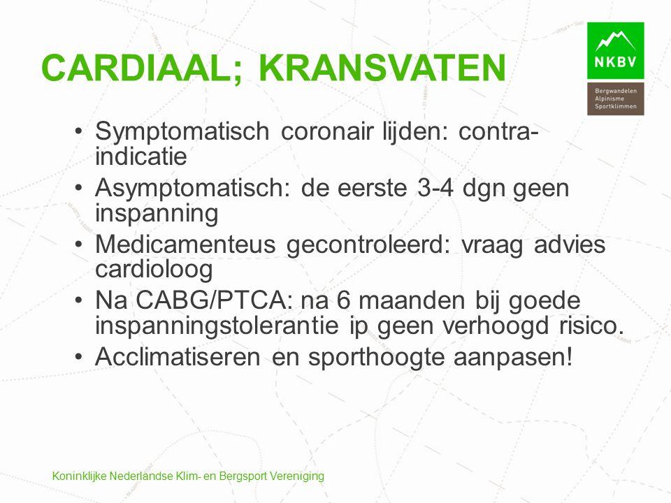 Cardiaal; kransvaten Symptomatisch coronair lijden: contra-indicatie