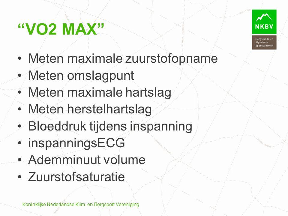 VO2 max Meten maximale zuurstofopname Meten omslagpunt