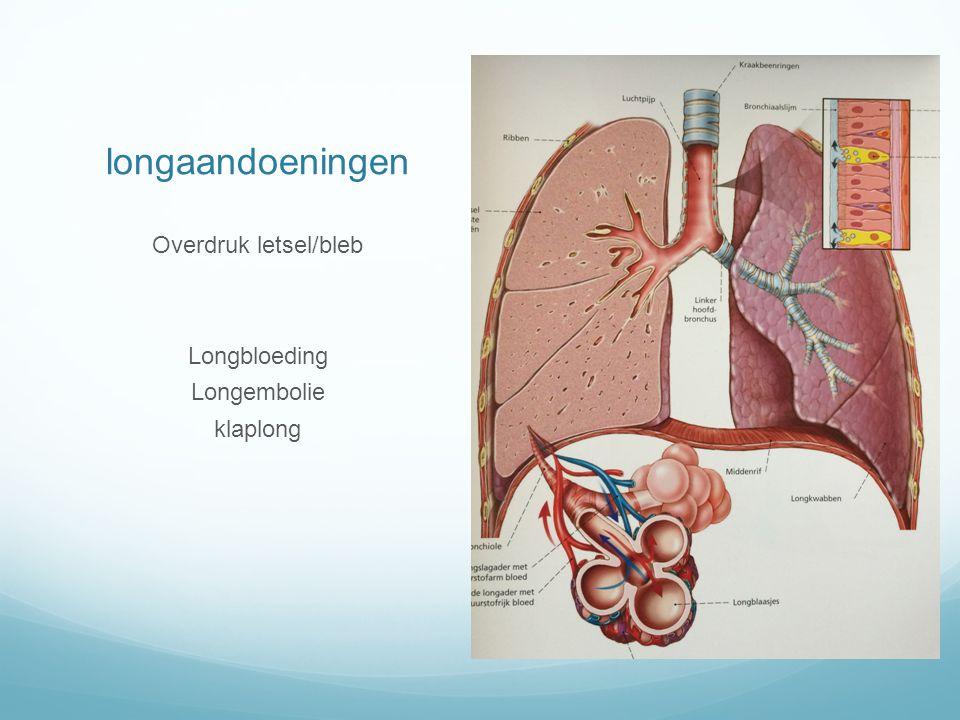 longaandoeningen Overdruk letsel/bleb Longbloeding Longembolie