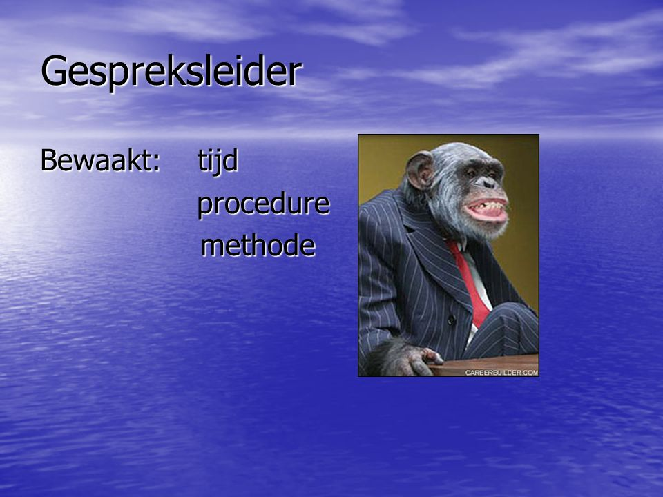 Gespreksleider Bewaakt: tijd procedure methode