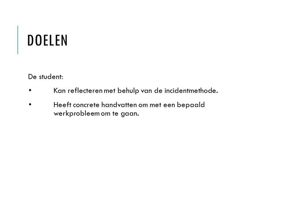 Doelen De student: • Kan reflecteren met behulp van de incidentmethode.