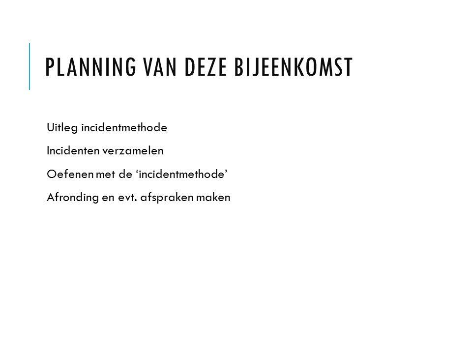Planning van deze bijeenkomst