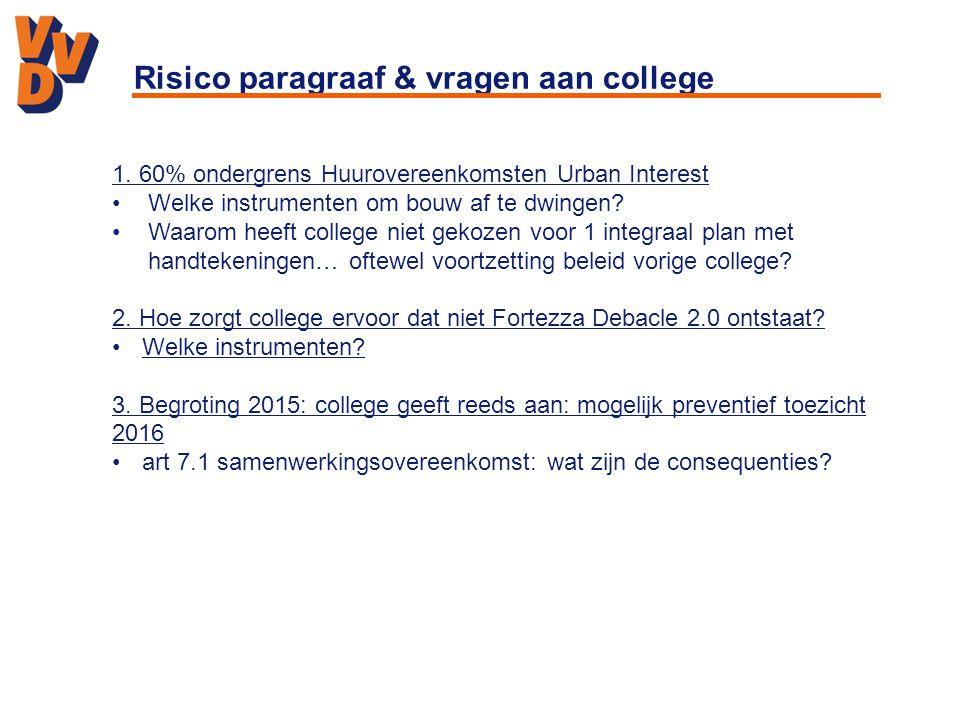 Risico paragraaf & vragen aan college